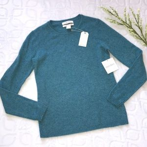 ELLEN TRACY Blue 100% Cashmere Light Sweater Small